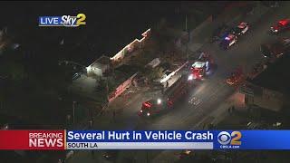 5 Hurt Critically In 2-Vehicle South LA Crash