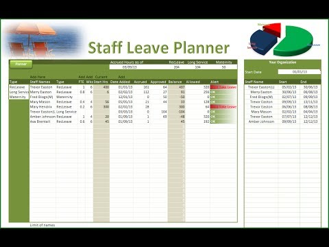 Excel Leave Planner - Staff Leave Planner - YouTube