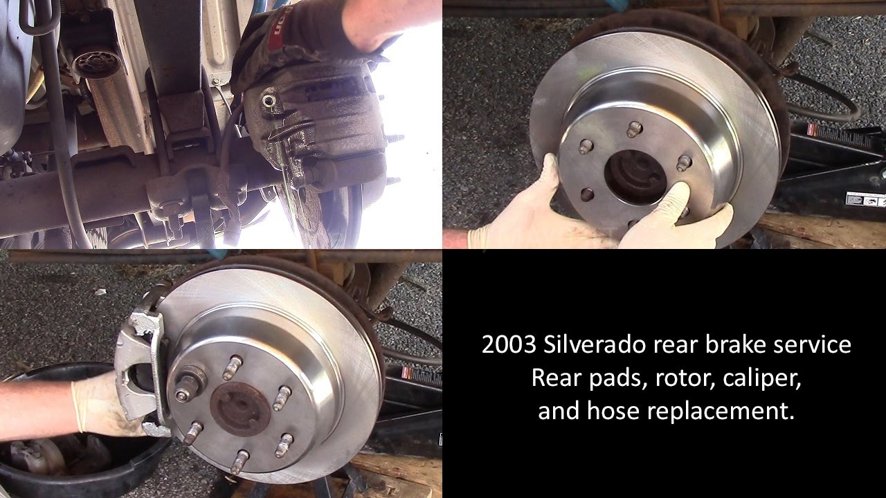small resolution of 2003 chevy silverado rear brake pad rotor caliper and hose replacement