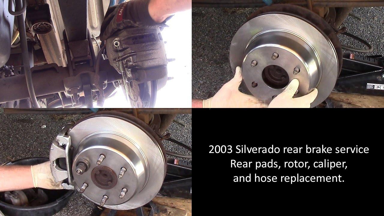medium resolution of 2003 chevy silverado rear brake pad rotor caliper and hose replacement