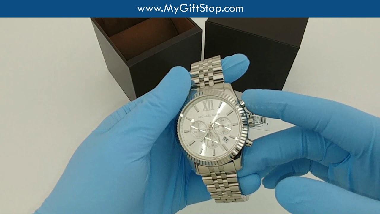 776cbd1927ce Michael Kors MK8405 Lexington Chrono Silver Dial Women s Watch Video ...