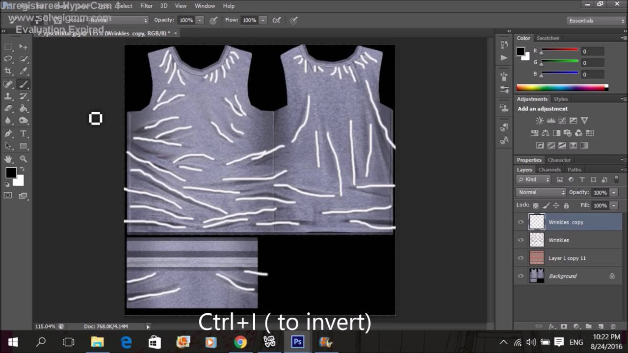 Imvu creating tutorial #3 How to add pattern shirt + wrinkles on a shirt  (Photoshop)