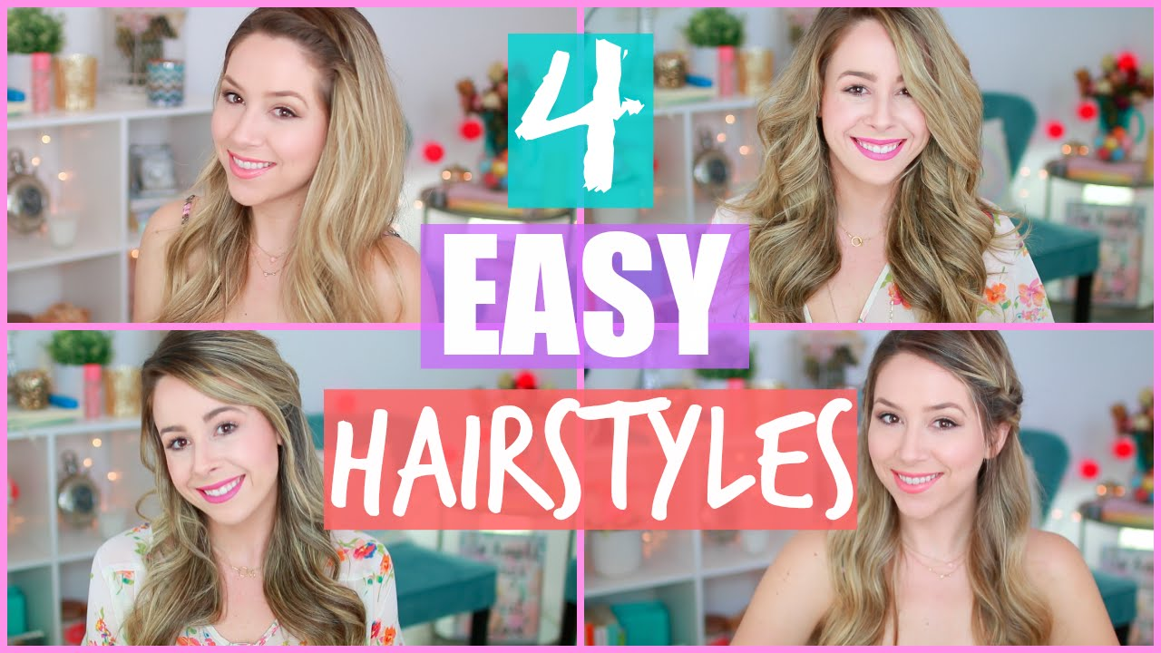 4 Easy Hairstyles for Spring + Flat Iron Curls - YouTube