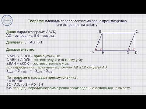 Как рассчитать площадь параллелограмма