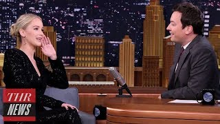 Jennifer Lawrence and Jimmy Fallon Compete in Ax-Throwing Contest | THR News