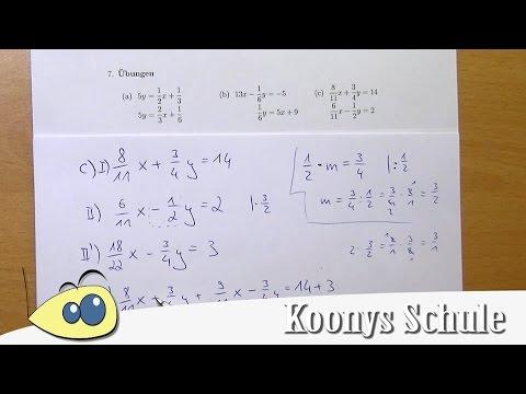 LGS Aufgaben mit Brüchen, lineare Gleichungssysteme lösen ...