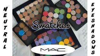 swatch fest mac neutral eyeshadows all shades whites ivories beiges nudes browns blacks