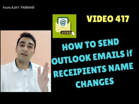 Learn MS Excel -Video 417- VBA Send Email if recipient name changes