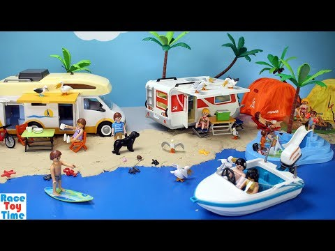 Thumbnail: Playmobil Summer Fun Camper Playset - Camping at the Beach with Sea Animals Fun Toys For Kids