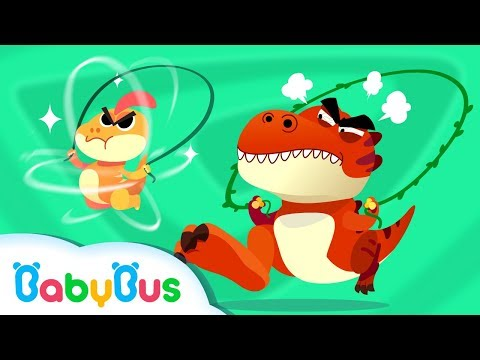 T-Rex Loves Jumping Rope   Dinosaur Jump Role Competition   Kids Song   BabyBus