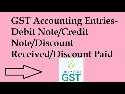 GST Accounting Entries Discount Paid/Discount Received/Debit Note/Credit  Note Tally.erp9