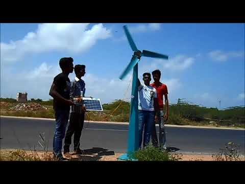 RENEWABLE ENERGY PROJECT MINI WINDMILL AND SOLAR HYBRID POWER GENERATION SYSTEM