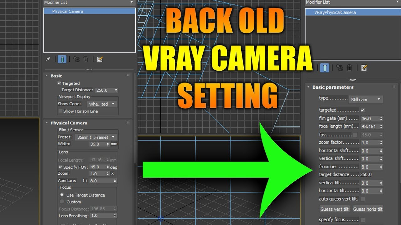 HOW TO BACK OLD V-RAY PHYSICAL CAMERA SETTING ! ON VRAY 3 0 TO 3 6