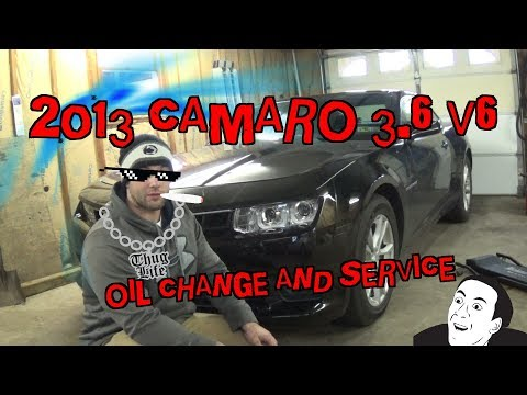 2013 Chevy Camaro 3.6L V6 oil change and service.