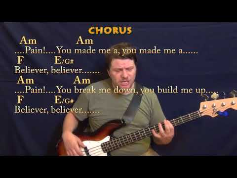 Believer (Imagine Dragons) Bass Guitar Cover Lesson In Am With Chords/Lyrics