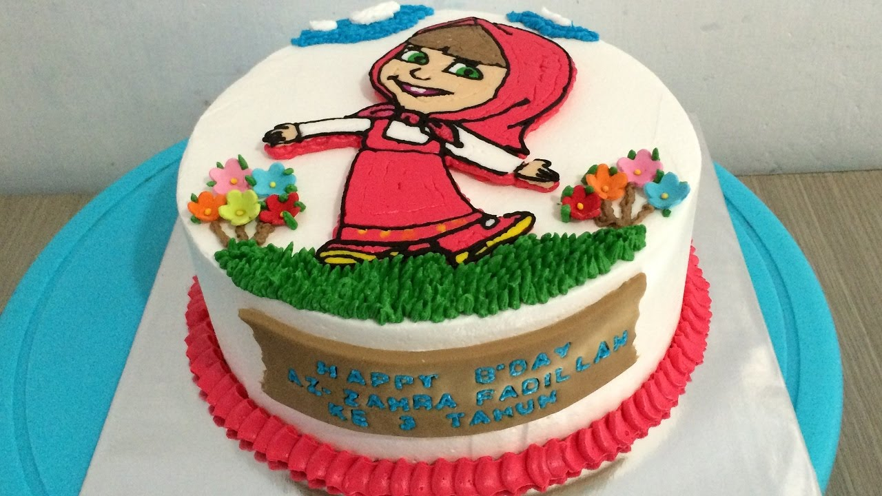 How to Make Birthday Cake Masha and The Bear by Buttercream Transfer