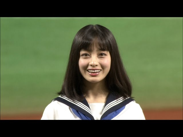 【プロ野球パ】橋本環奈さんが見事なノーバン始球式! 2015/10/14 H-M