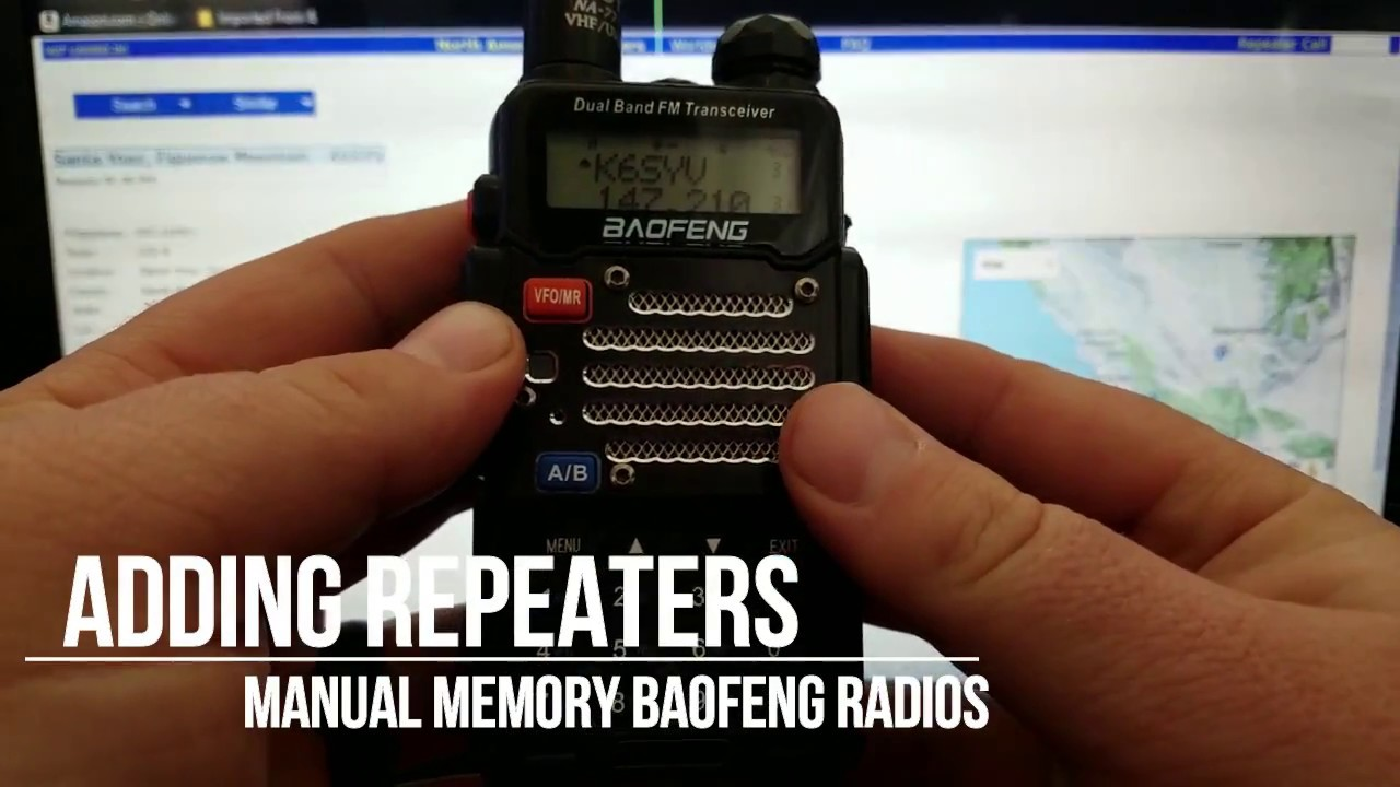 Baofeng Radio: Repeater Programming (Manually)