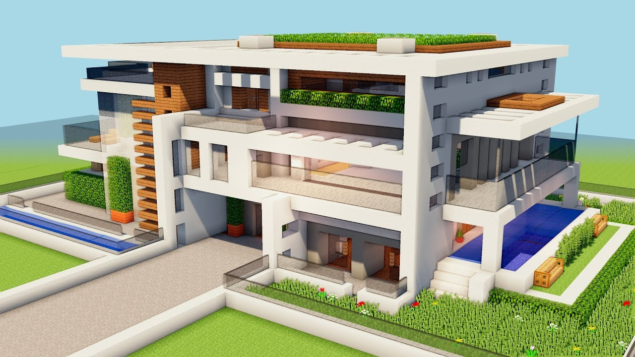 New  Minecraft  How To Build A Big Modern House -tutorial  How To Make A Mansion    1