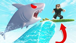 SHARK ON MY SURFBOARD | ROBLOX SHARK BITE