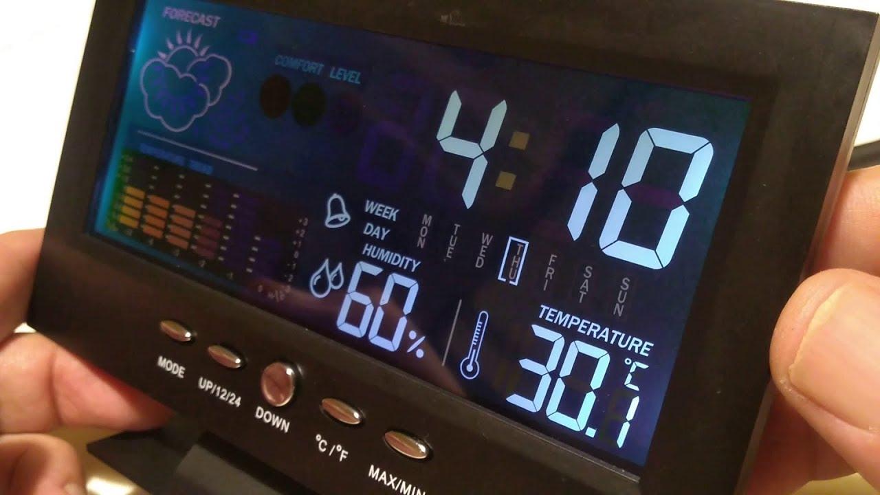 Lorus Black Weather Forecast Alarm Clock Digital Snooze Calendar Temp Barometer