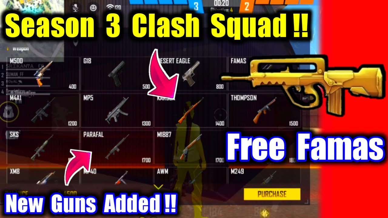 New Update Clash Squad Gameplay😍🔥Free Famas & new Guns Added !!