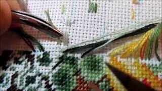 Вышивка крестом: закрепление нити