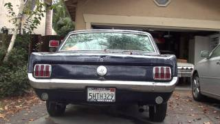 1966 mustang with Cherry Bomb Turbos
