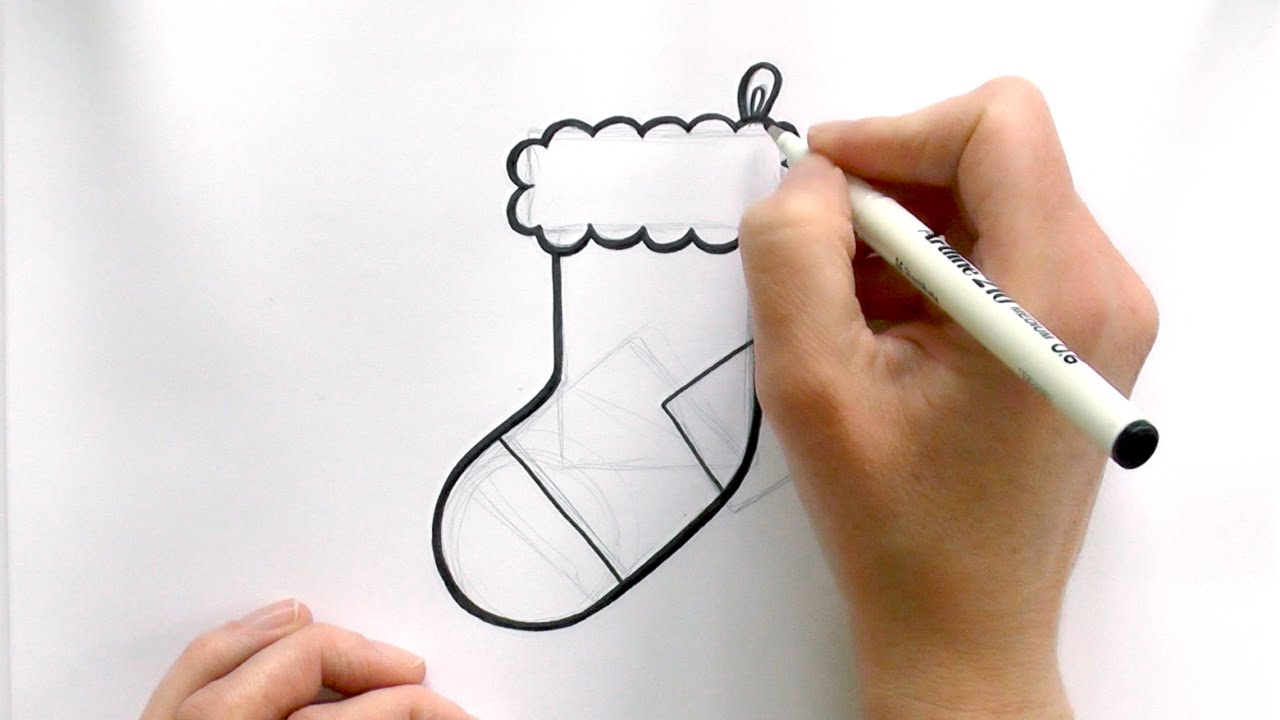 Drawings Of Christmas Stockings.How To Draw A Christmas Stocking