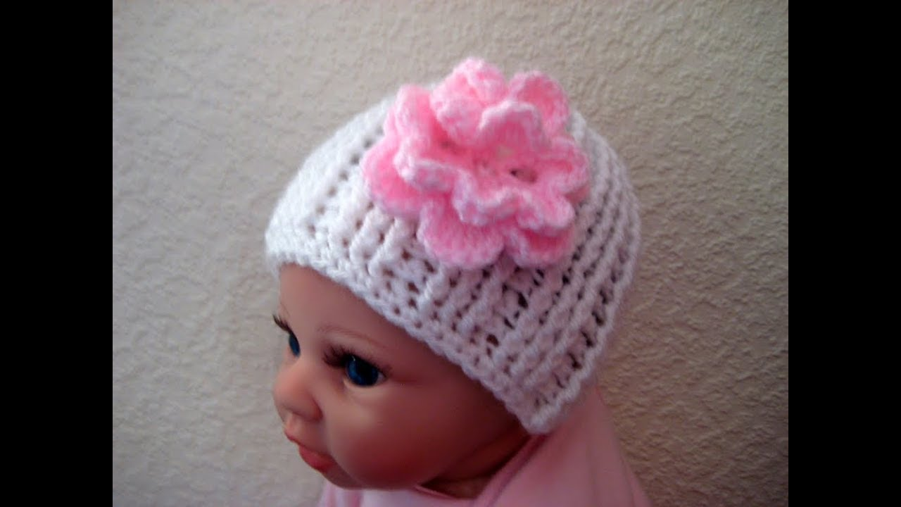 cd4748df0a3 Easy Crochet Baby beanie hat Newborn 0-3 months tutorial - YouTube