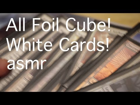 [ASMR] ALL FOIL CUBE!! White Cards! (not my cards!!)