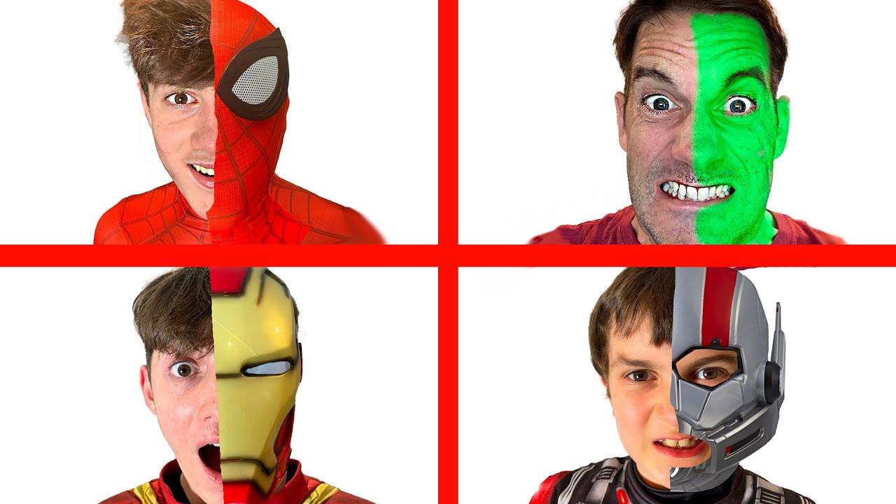 Avengers Superhero Transformations! - Hulk, Spiderman, Ant-Man & Iron Man