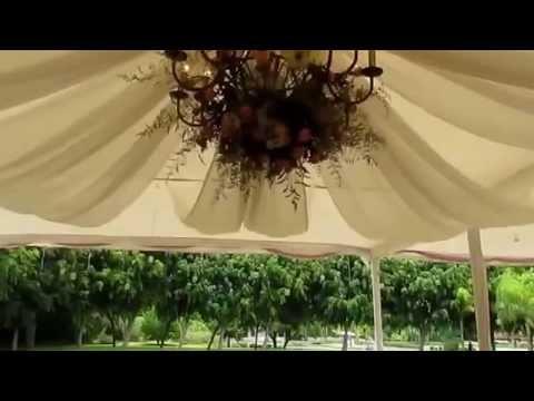 Candelabro con flores y drapeado en jardin youtube - Jardines con rosas ...