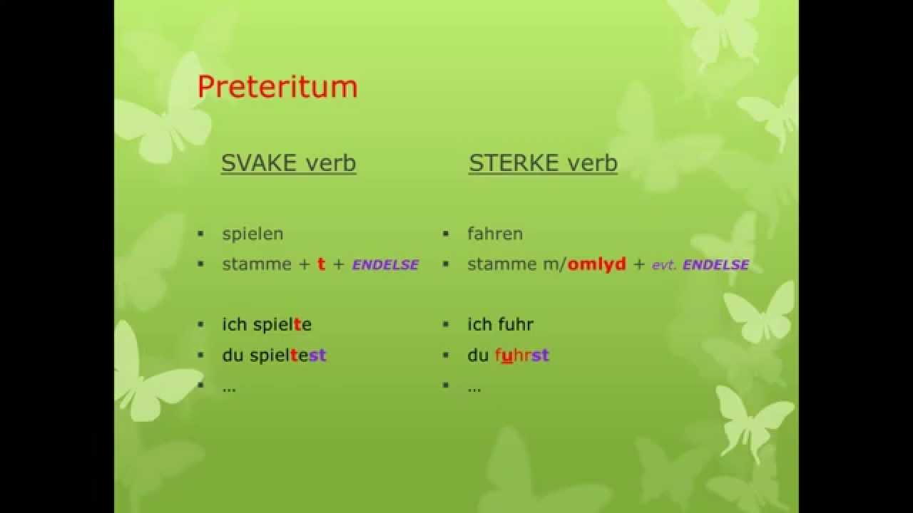 Preteritum av sterke verb på tysk