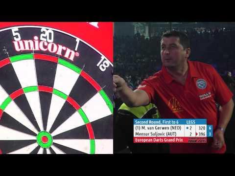 AMAZING DARTS! Michael van Gerwen v Mensur Suljovic - European Darts Grand Prix