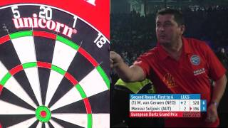 AMAZING DARTS! Michael van Gerwen v Mensur Suljovic - European Darts Grand Prix