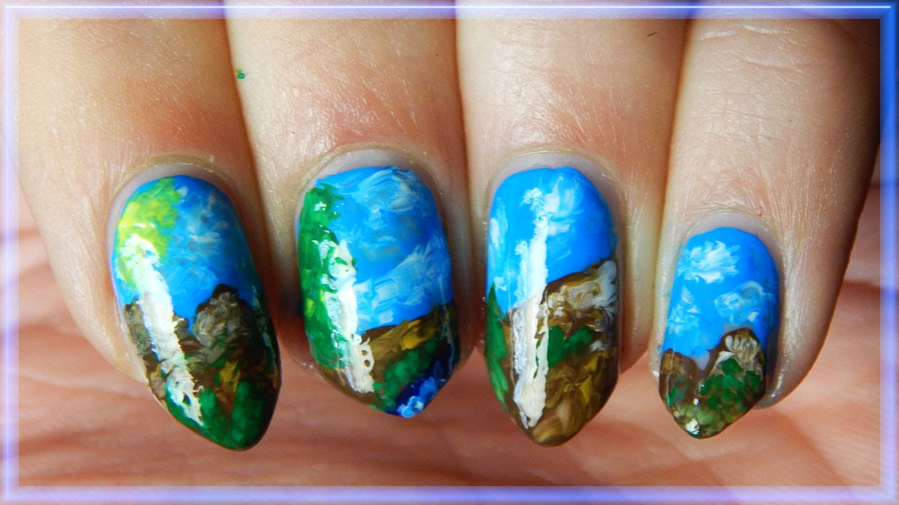 Nail Art Easy Mountain Landscape Youtube
