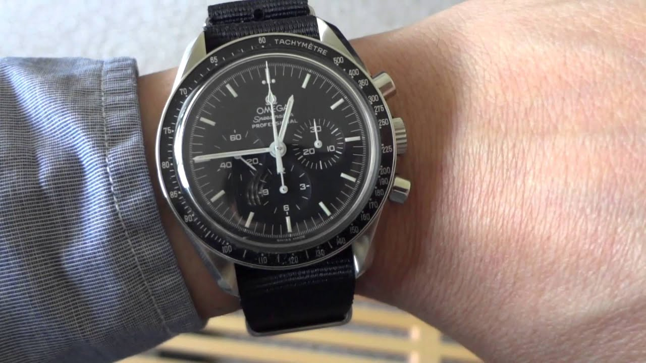 On The Wrist Omega Speedmaster Black Nato Strap Youtube