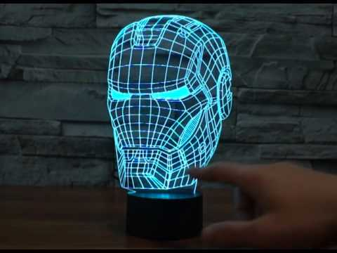 Iron man 3d LED bulbing magical night lamp - YouTube