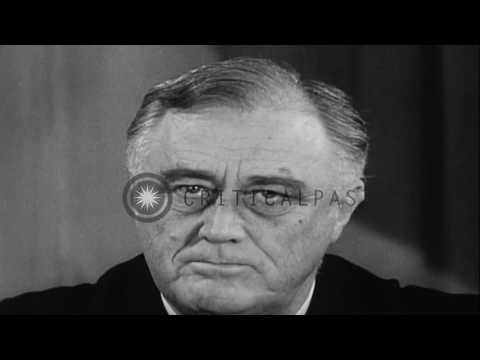 US President Franklin Roosevelt addresses the nation regarding the lend lease aid   HD Stock Footage
