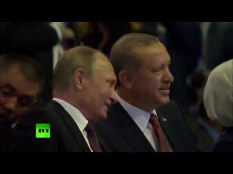 Putin, Erdogan chat during Russian president's first trip to Turkey since Su-24 downing