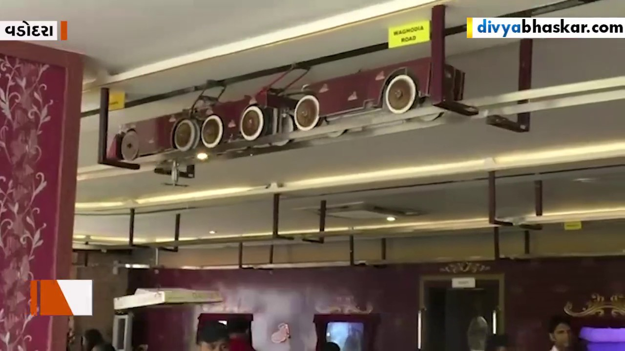 Pizza 🍕 Served By Train 🚉 In Restaurant In Vadodara India
