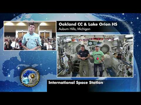 Expedition 55 Educational Inflight Interview - Oakland CC Lake Orion High School - April 17, 2018