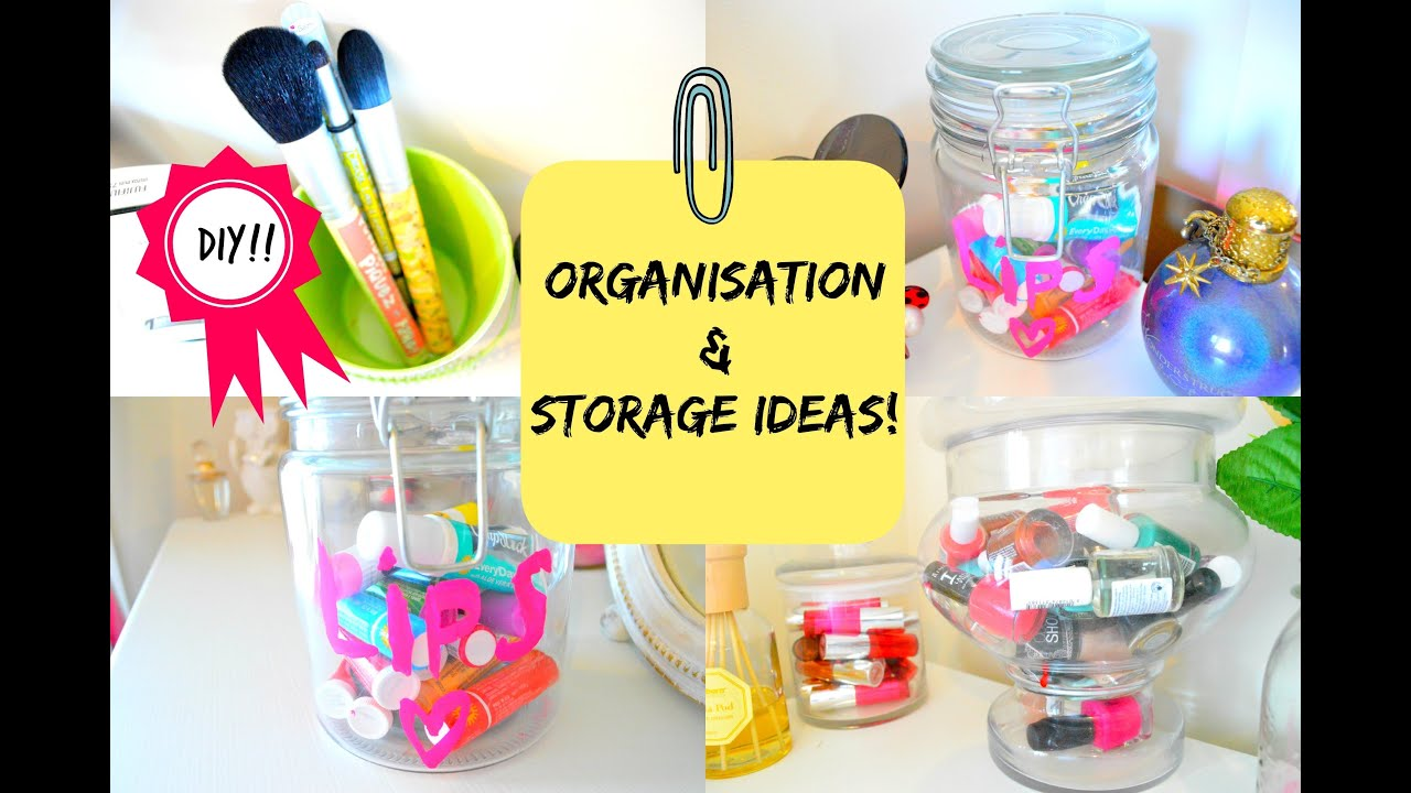 ROOM DECOR  ORGANIZATION AND STORAGE IDEAS WITH JARS   DIY    YouTube. Diy Organizing Ideas For Bedrooms. Home Design Ideas
