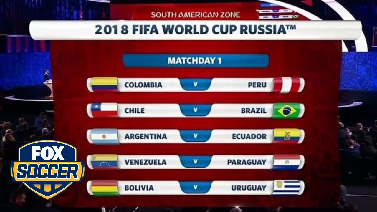 Conmebol World Cup 2018 Qualifying Draw Fox Soccer Youtube