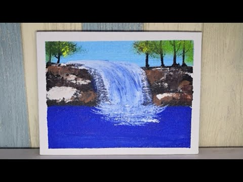 -Acrylic Painting Demo#14\A Peaceful Waterfall Landscape\Easy Painting Technique\Step by Step