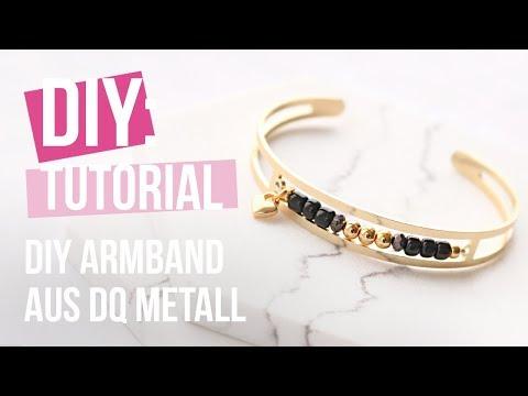 Schmuck machen: DQ Metall Armband mit Perlen ♡ DIY