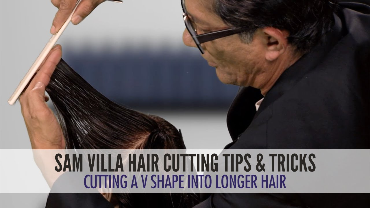 Cutting A V Shape Into Long Hair Youtube