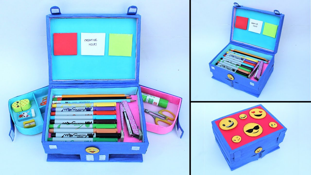 How to make Pencil Box at home from Waste Cardboards/ Best out of Waste/ DIY Emoji Pencil Case