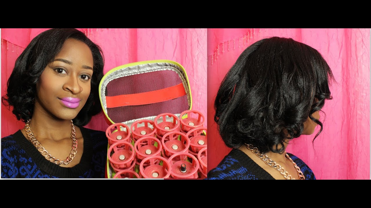 Pin Curls On Relaxed Hair Youtube
